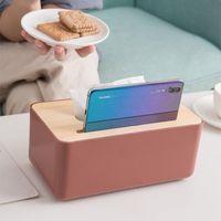 Holder Household Wooden Cover Paper Container Napkin Storage Case Phone Bracket Slot Design For Living Room Tissue Boxes & Napkins