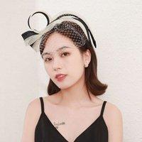 Smart dress face veil band show bridal hair stage banquet party linen headdress