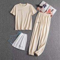 Milan Pist 2021 Tasarımcılar Eşofman kadın İki Parçalı Pantolon Set Kıyafetler Mektubu Katı Renk Kısa Kollu Pantolon Spor Takım Elbise Erkek Yüksek Kalite Moda Eşofman