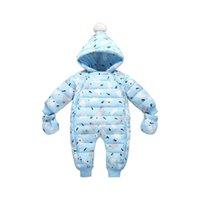 Baby rompers vinter nyfödda ner kappa bodysuits spädbarn spädbarn kläder tjejer pojkar jumpsuit hooded ett stycke kläder toddler outwear handskar skor strumpor passar b8787