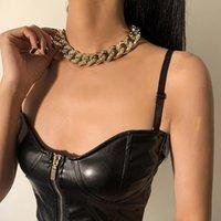 럭셔리 아이스 아웃 라인 석 펑크 체인 목걸이 패션 chunky 두꺼운 플라스틱 초커 목걸이 여성 고딕 성명 Bijoux