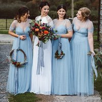 2021 Light Sky Blue Bridemaid Платья Sheer шеи с коротким рукавом длина с круглым рукавом кружевные аппликации загородные свадьбы гостевые платья Maxi