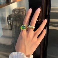 Anelli a cluster vintage boutique smeraldo per lady di una taglia unica in ottone placcato oro verde zc pietra di bambù dito donne
