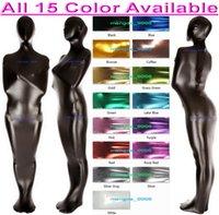 Unisex 15 Renk Parlak Likra Metalik Mumya Kostümleri Uyku Tulumu Seksi Kadın Erkek Vücut Çantaları Sleepsacks Catsuit Kostüm Cadılar Bayramı Fantezi Elbise Cosplay Suit M002