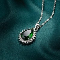 Necklace Pendant For Women Blue Rectangle Ellipse Green Water Drop MulticolorZircon Jewelry Necklaces Pendants Chain