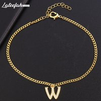 Fashion Gold Charm A-Z Letter Bracelet For Women Simple DIY Handmade Word Bracelets & Bangles Boho Anklets Jewelry Wholesale Link, Chain