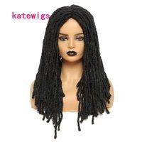 Crochet tranças Long Black Straight Dreadlock Heart Wigs para mulheres ou homens tranças sintéticas de uso diário