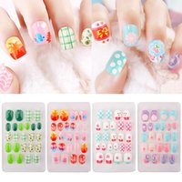 False Nails 24Pcs Fake Children Full Cover Artificial Nail Tips Cartoon Flower Rabbits Butterfly Pink Kids Manicure Press On