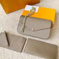 럭셔리 패션 브랜드 3 피스 지갑 양각 편지 꽃 가죽 가방 체인 어깨 휴대용 미니 카드 홀더 원래 상자 도매