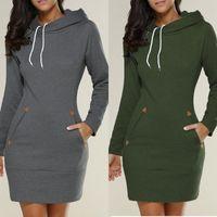 Women's Hoodies & Sweatshirts Hooded High Neck Long Sleeve Sweater Dress