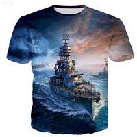 Warship 3D Printed T-Shirts Men Women Casual Harajuku Hip Hop Style Tshirts Popular O-Neck Polyester Oversized 2XS-5XL