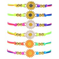 Kimter Bohemian Sunflower Charms Braided Bracelet Friendship Adjustable Rope Daisy Bangle Wristband Jewelry Gift Q571FZ