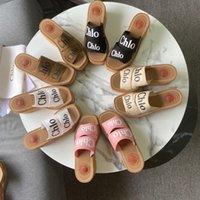 Chinelos de Lona de Chinelos Femininos Slides Bege Woody Wooded Sandálias Plataforma Espadrilles Heels Sandal 10cm Designers de Luxo Estilo Holiday Shoes Fábrica Calçado