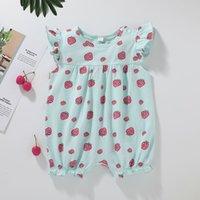 الطفل الفراولة الأزهار السروال القصير الصيف 2021 أطفال بوتيك الملابس أمريكا اليورو الرضع الصغار الفتيات الكشكشة الأكمام حللا