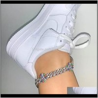 Anklets Drop Consegna 2021 Parcheggio Baguette Rainbow Sunflowe 10mm Iced Out Bling CZ Miami Cuban Link Sier Colore Anklet Donne Gioielli Hiphop F
