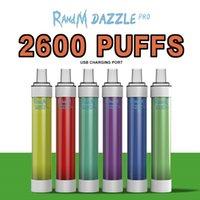 100% Original R and M Dazzle Pro Disposable cigarettes 6ml Pods 2600 puffs RGB Lights Vape Devices
