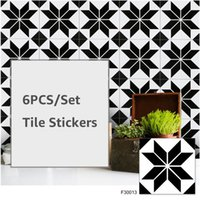 6PC Set Tile Stickers Self Adhesive Retro Waterproof PVC Removable Wall Sticker DIY Wallpaper For Kitchen Bathroom