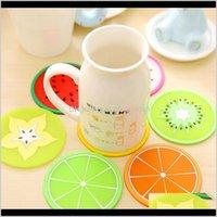 기타 주방 식사 바 테 패드 프로 모션 귀여운 과일 패턴 다채로운 흔들러 둥근 컵 쿠션 홀더 두꺼운 음료 식기 coaster exy57