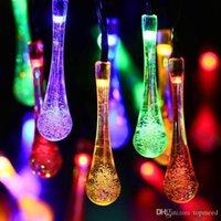 21ft 30 Led Strip Solar Water Drop Outdoor Fairy Lights Lamp Garden String Lighting Halloween Christmas Decoration Led