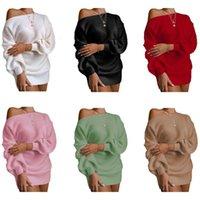 عارضة قبالة الكتف فانوس كم متماسكة سترة اللباس السيدات البسيطة طويلة الأكمام تنورة 2020 الخريف الشتاء اللباس النساء