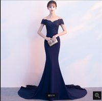 2021 real picture royal blue lace satin mermaid prom dresses beaded sequins off the shoulder v neckline elegant party gowns court train long evening dress on sale