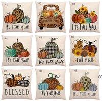 Halloween Pumpkin Pillow Case Linen Printed Flower Truck Fall Throw Covers Seasonal Cushion Cases Decorative 18*18inch DHA8781