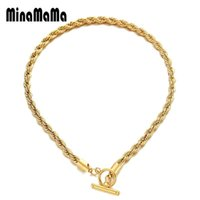 Chains Stainless Steel OT Toggle Clasp Thick Twist Rope Chain Necklace For Women Men Hip Hop Link Choker Jewelry