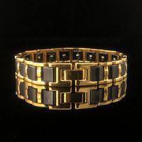Bracelet magnétique pour hommes en acier inoxydable en acier inoxydable en céramique polie longueur réglable noire et brillante goldone gold bijoux lien cadeau, chaîne