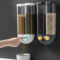 Storage Bottles & Jars Wall Mounted Cereal Dispenser Moisture Proof Automatic Grain Box Plastic Transparent Rice Kitchen Organizer