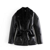 Мода зимний ягненок мех и искусственная кожаная куртка из искусственной кожи женские черные длинные рукаверенные женские повязка элегантные вершины верхней одежды