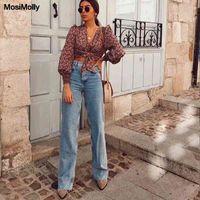 Mosimoly WASHED Denim Jeans Hosen Frauen Streetwear Wide Bein Bodenlangen Jeans Lange Hose Weiblich Bottom Trendy 210331