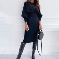 Casual Dresses Autumn Christmas For Women 2021 Solid Color Lantern Sleeve Elastic Waist Tight Knitted Sheath Dress