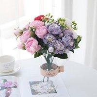 Rose Rosa künstliche Blumen Seide Pfingstrouquet 5 Große Kopf 4 Kleine Knospe Haus Garten Hochzeit Dekoration DIY Geschenke Gefälschte dekorative Kränze