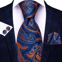 Bow Ties Hi-Tie Blue Orange Paisley Silk Wedding Tie For Men Handky Cufflink Set Fashion Designer Gift Necktie Business Party