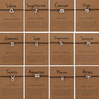 12 Constellations Rope Chain Woven Bracelets For Women Men Kids Handmade Twelve Horoscope Zodiac Sign Bracelets Jewelry Gifts with Card