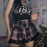 Lace Up Goth Y2K Womens Skirt Pink Stripe Plaid Trim Pleated Punk Academia Aesthetic E Girl Clothes