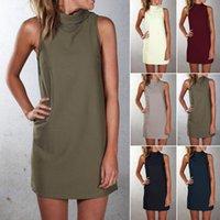 Kadınlar için Günlük Elbiseler Standı Yaka Mini Elbise Bodycon Diz Yukarıdaki Slim Fit Etekler Kolsuz Artı Boyutu Giyim Toptan Kızlar