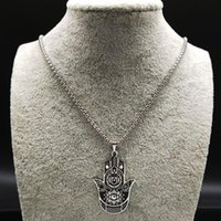 Pendant Necklaces 2021 Yoga Lotus Hamsa Hand Stainless Steel Chain Necklace Men Silver Color Black Statement Jewelry Joyas N18203