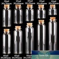 24pcs 10ml 15ml 20ml 25ml 30ml Cute Clear Glass with Cork Stopper Empty Spice Bottles Jars DIY Crafts Vials