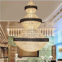 Top Luxury Staircase Lampadario Illuminazione Grande decorazione della casa Lampade di cristallo Modern Light Light Fixtures Lobby Hotel LED luci