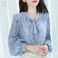 Хан королева поступление сладкая дикая цветочная рубашка женская блузка старинные работы повседневные топы блузки корейский шикарный шифон женские рубашки