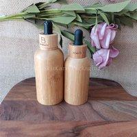 Garrafas de armazenamento frascos 100 pçs / lote 15ml 30ml 50ml Bambu Shell Essencial Garrafa Garrafa de Garrafa de Garrafa Vidro Logotipo Recarregável Vazio Personalizado