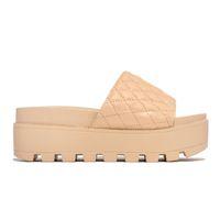 Женщина Lido Sandals кожаные открытые пальцы платформы плоские тапочки дизайнерские горки лето все-матча стилистский размер 35-43 NO08