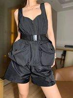Yaz Fit Bayan Tankları Camis Tees Yelek Elbise Cep Tomurcuklu Mektuplar Kemer Ayarla Ladys Ince Dış Giyim Kolsuz Tank Yelek Gömlek Tops