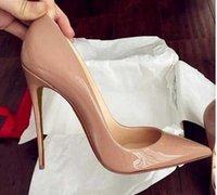 Top Calidad 2018 Zapatos Mujeres Fondos rojos Tacones Altos Sexy Punta puntiaguda Suela roja 8cm 10 cm 12 cm bombas Bombas Zapatos de vestido de novia Negro Black Shiny 688