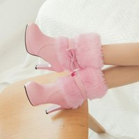 Boots 2021 Winter Fashion Womens Warm Fur High-heeled Pink White Black Bowtie Lovely Lolita Ladies Party Wedding Shoes 33-43