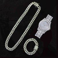 Designer Luxury Brand Watches Iced Out Paved Rhinestones 13mm Completo Miami Cadena Cuba CZ Rapper Necklace ++ Pulsera para hombres Mujeres Joyería