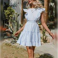 Simplee Solid Casual Rüschen Sommer Frauen Kleid 2021 Hohe Taille A-Line Kurzarm Strand Sommerkleid Elegante Oansatz Vestidos Kleider
