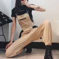 Mulheres Jumpsuit Dungares Loose Playsuit Macacões Mid Rise Calças de Carga Calças Hip Hop Estilo Streetwear Bodysuit Ropa de Mujer 2021 Jumpsuits das Mulheres