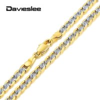 4mm Mens Womens Necklace Flat Hammered Curb Cuban Link Chain Silver Color Yellow Gold Filled For Men Women LGN64A Chains